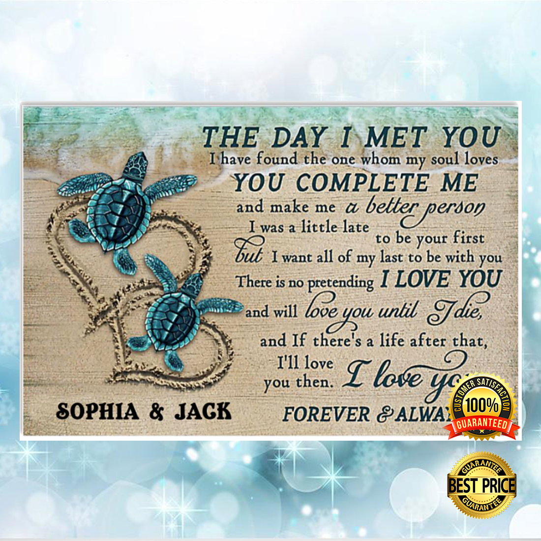 Personalized turtle the day i met you poster 5