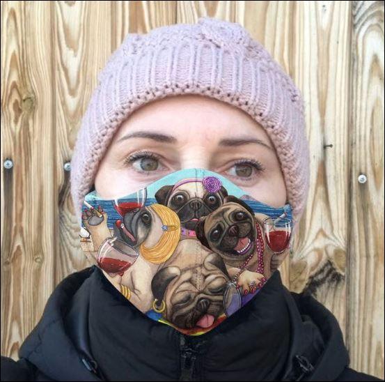 Pug beach cloth face mask