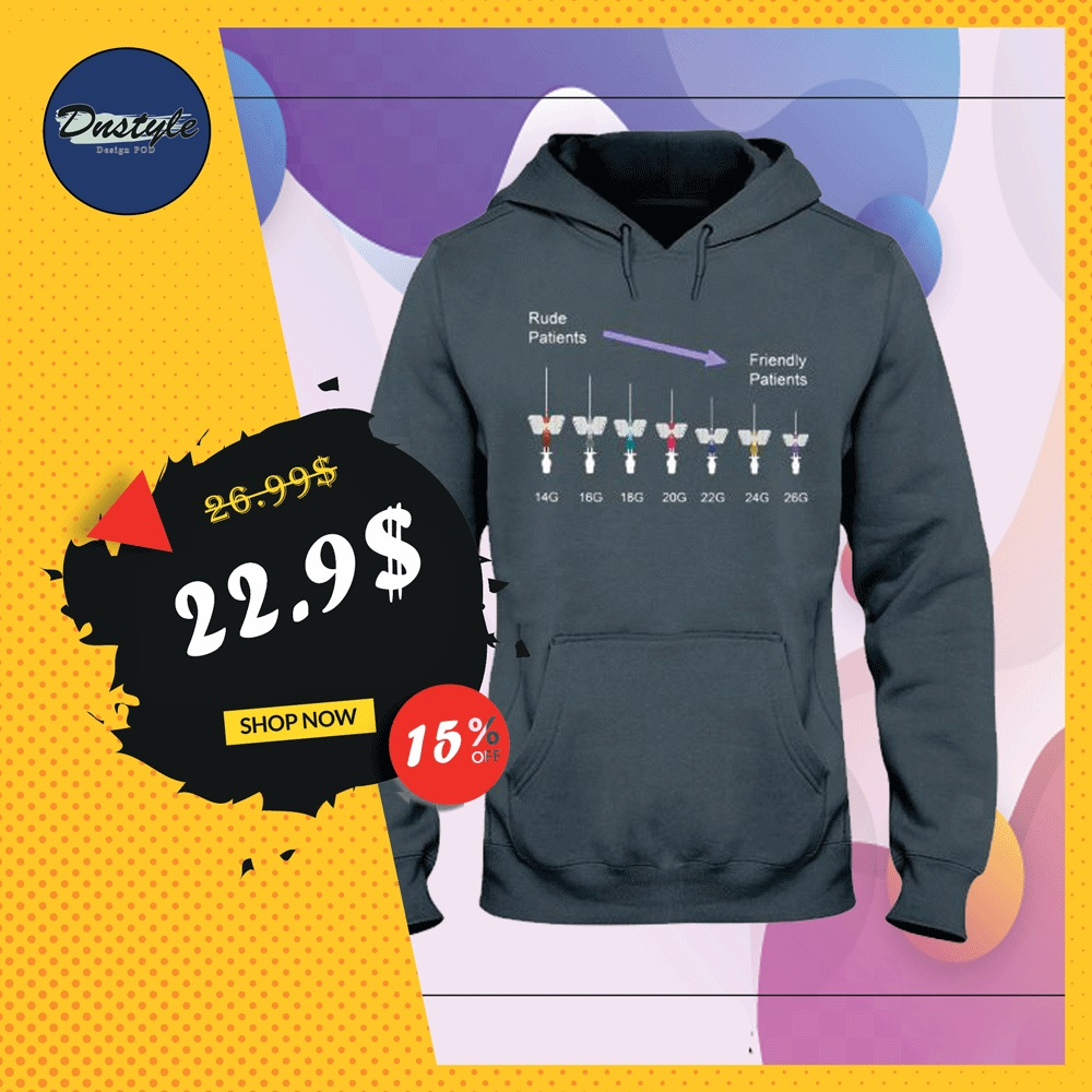 Rude patients friendly patients 15G to 26G hoodie