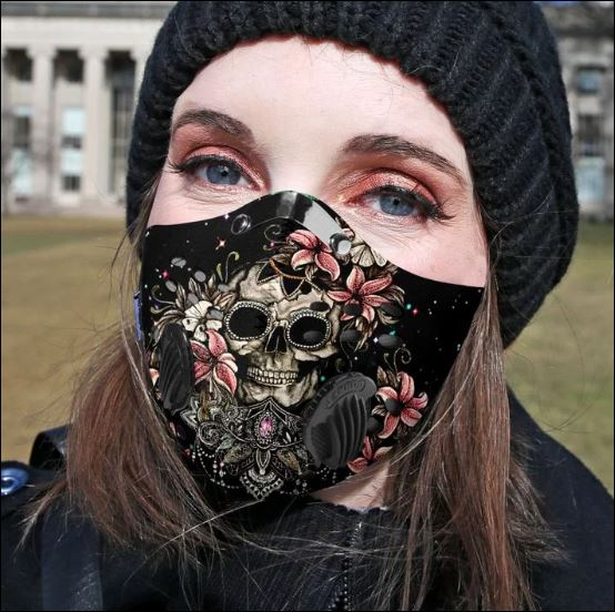 Skull and Lilly flower activated carbon Pm 2.5 Fm face mask