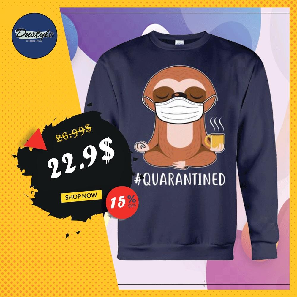 Sloth wear mask doing namaste quarantined sweater