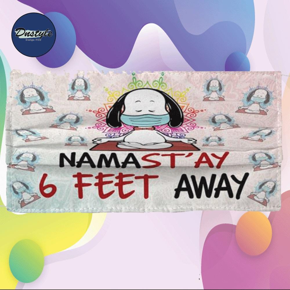 Snoopy namastay 6 feet away cloth face mask