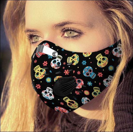 Sugar skull patterns filter activated carbon Pm 2.5 Fm face mask