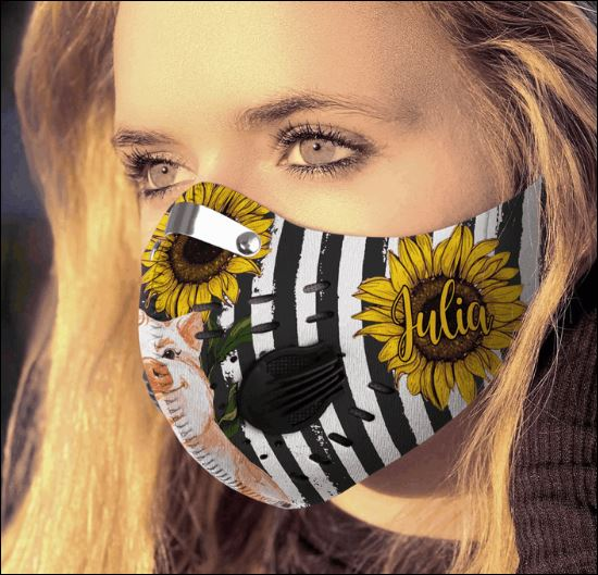 Sunflower and cute pig American flag filter activated carbon Pm 2.5 Fm face mask