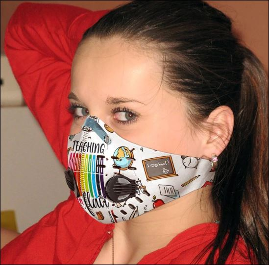 Teacher with flair filter activated carbon Pm 2.5 Fm face mask