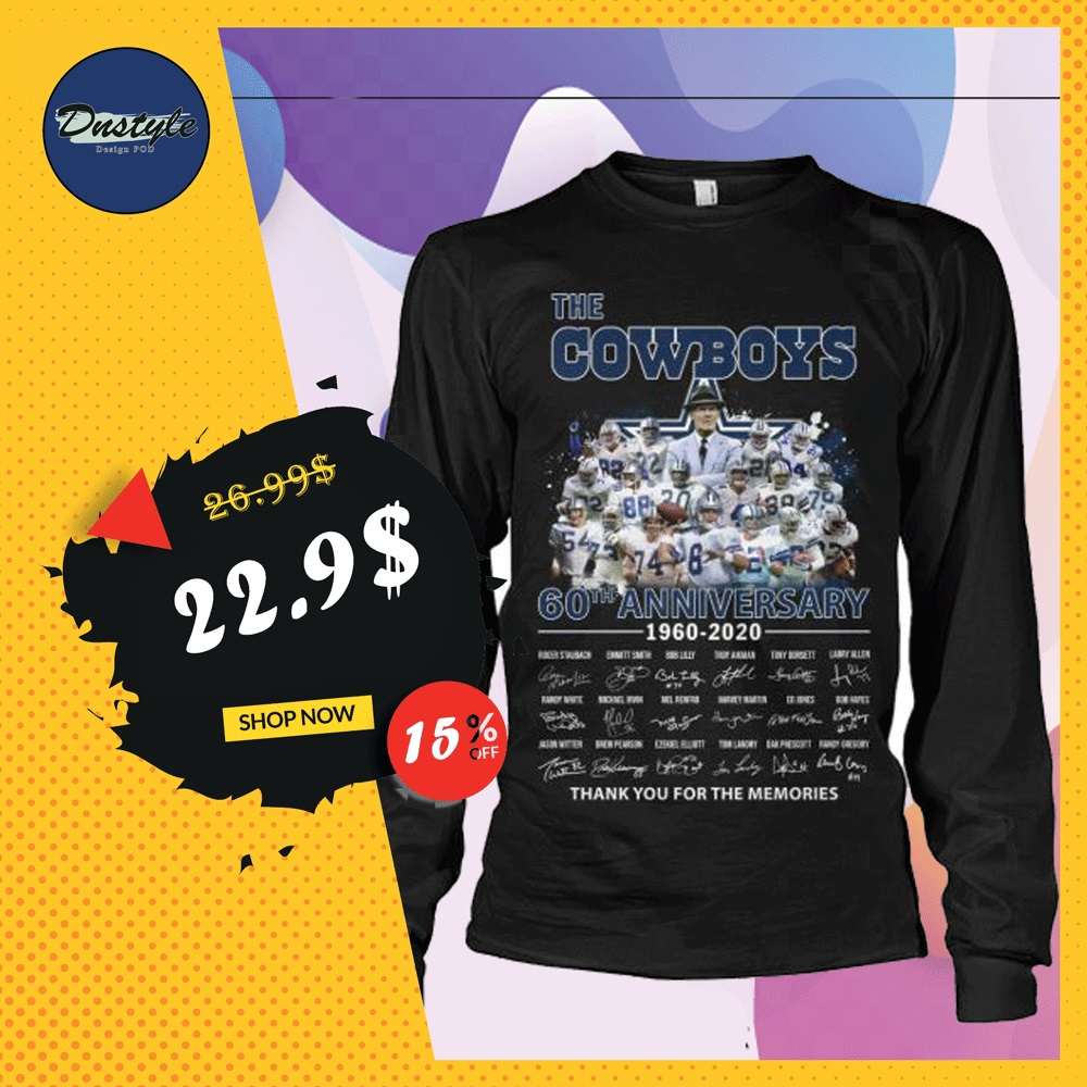 The Cowboys 60th anniversary 1960 2020 all player signatures long sleeved