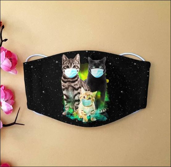 Three cats wearing mask cloth face mask