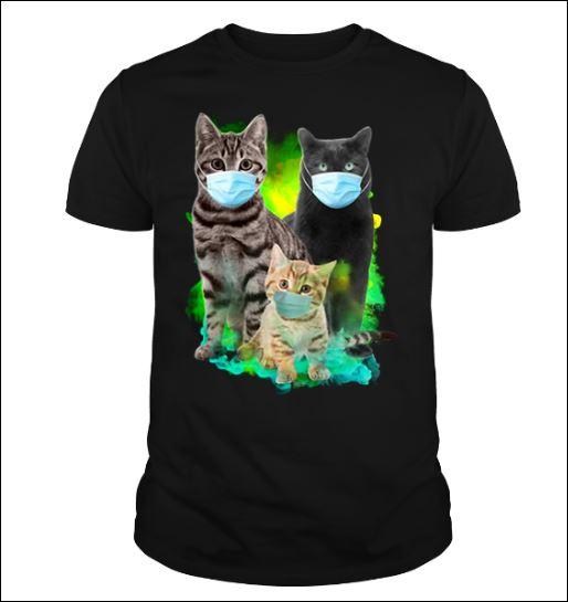 Three cats wearing mask shirt
