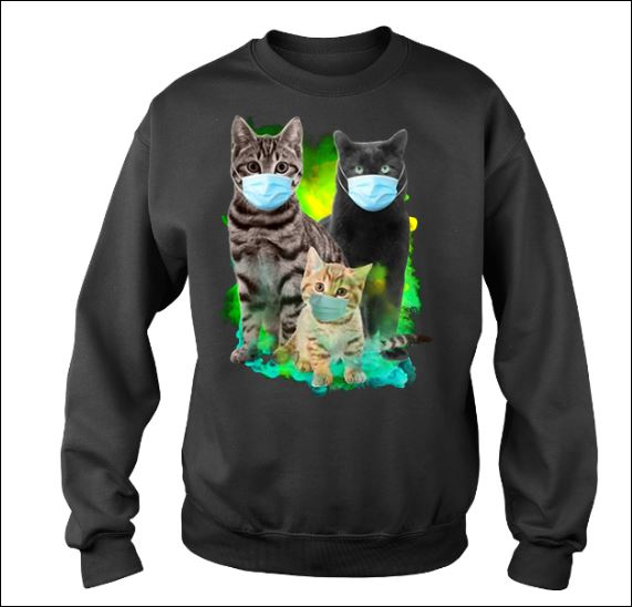 Three cats wearing mask sweater