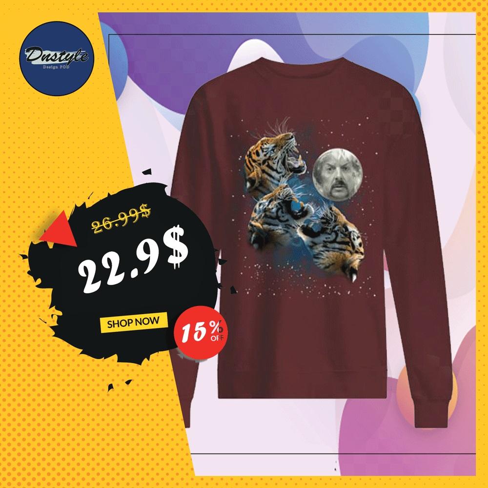 Three tigers and Joe Exotic moon sweater