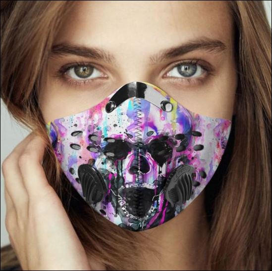 Watercolor skull filter activated carbon Pm 2.5 Fm face mask