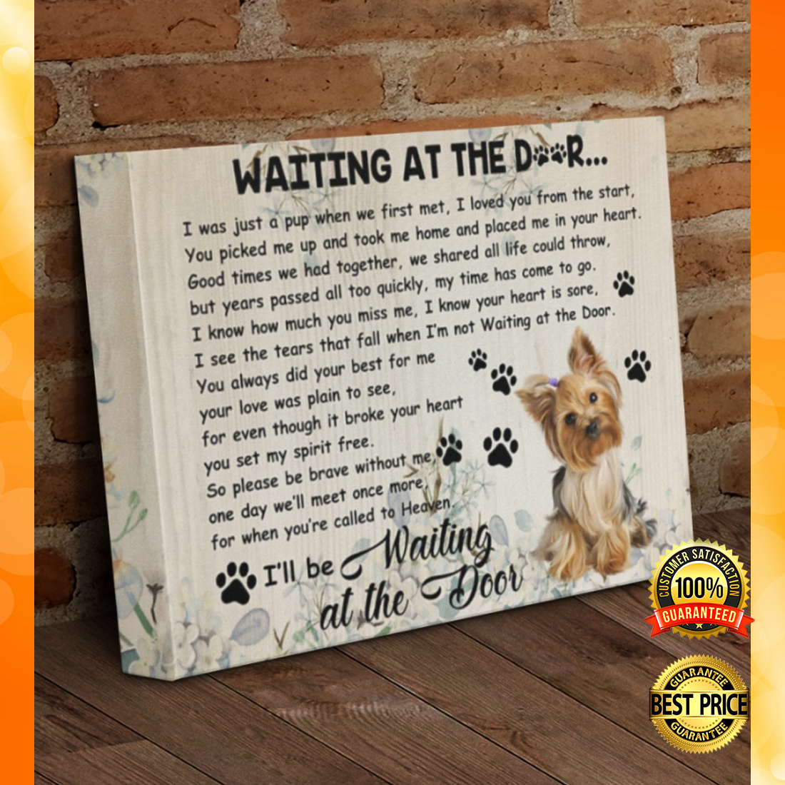 Yorkshire Terrier waiting at the door canvas 5