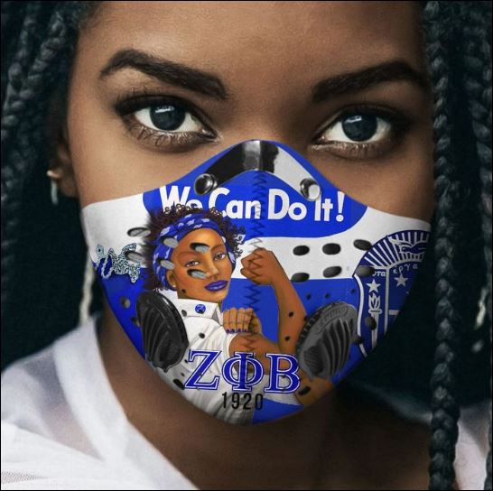 Zeta Phi Beta we can do it filter activated carbon Pm 2.5 Fm face mask