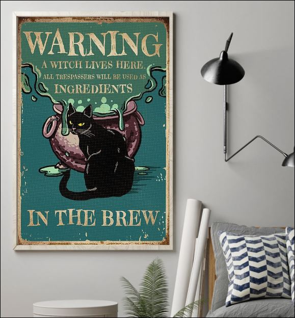 Black cat warning a witch live here poster 1