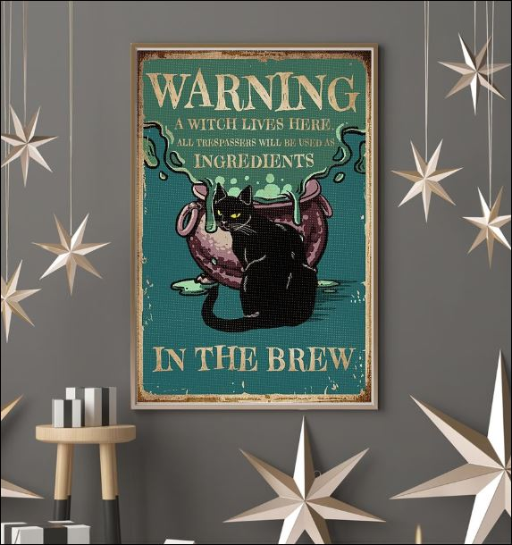 Black cat warning a witch live here poster 3