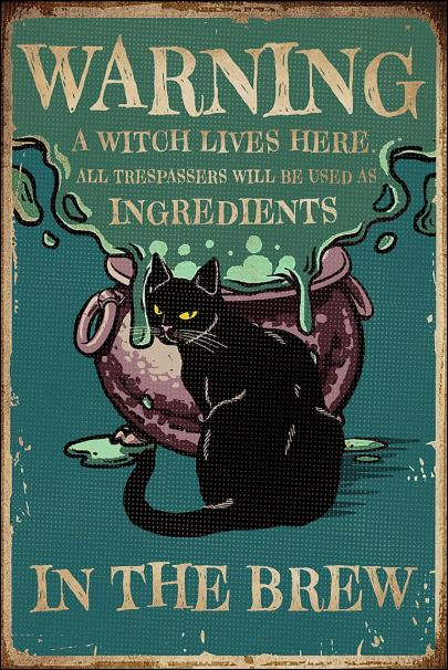 Black cat warning a witch live here poster