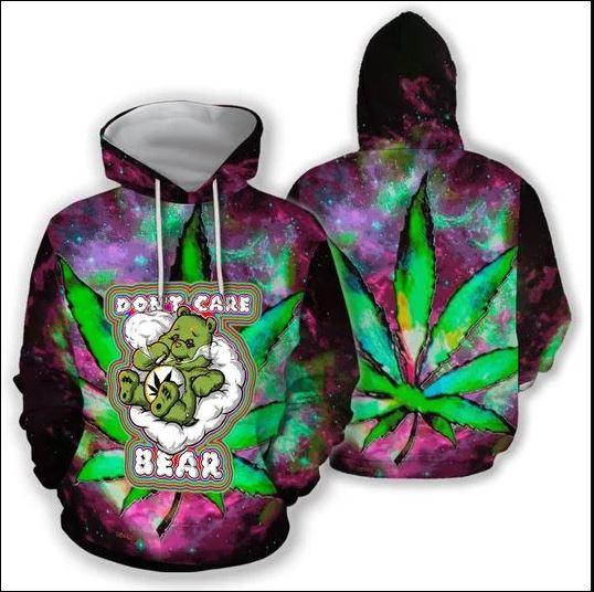 Cannabis don't care bear 3D hoodie