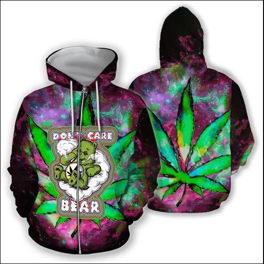 Cannabis don't care bear 3D zip hoodie
