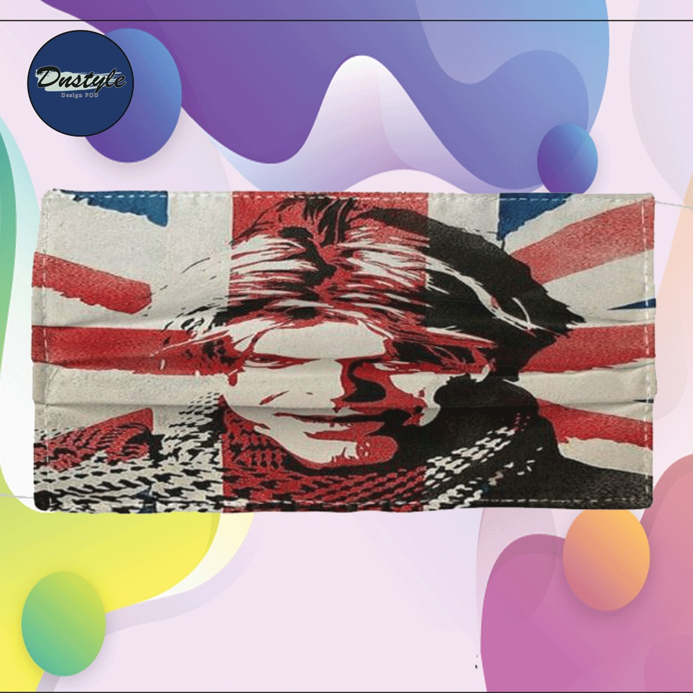 David Bowie England flag cloth face mask