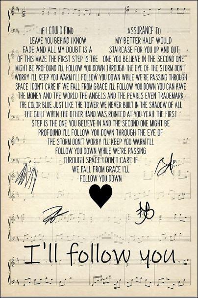 I'll follow you lyric poster