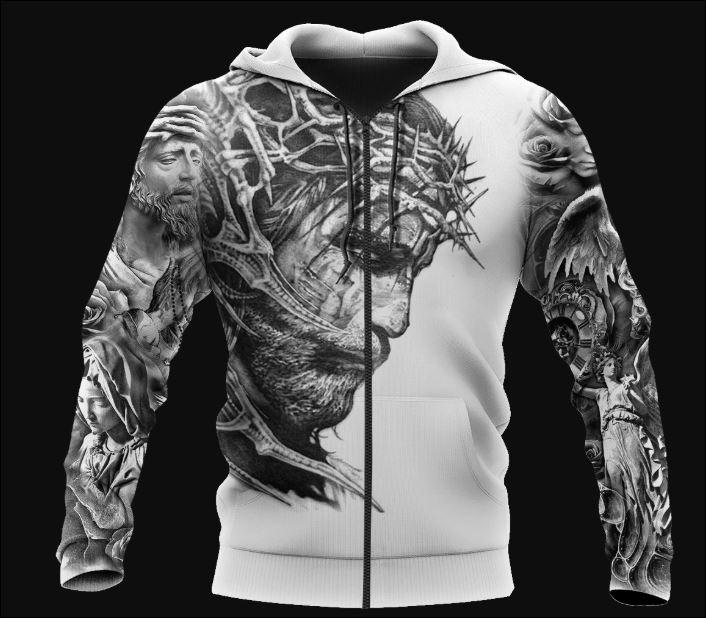 Jesus Tattoo 3D zip hoodie