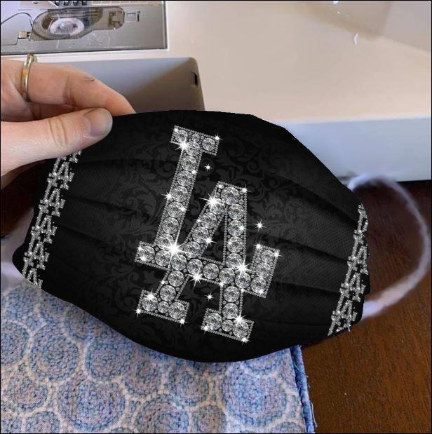Los Angeles Dodgers glitter diamond face mask