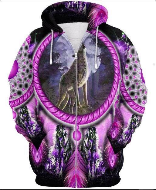 Native Wolf violet 3D zip hoodie