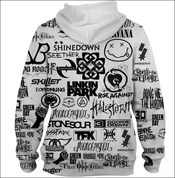 Rock bands 3D hoodie back