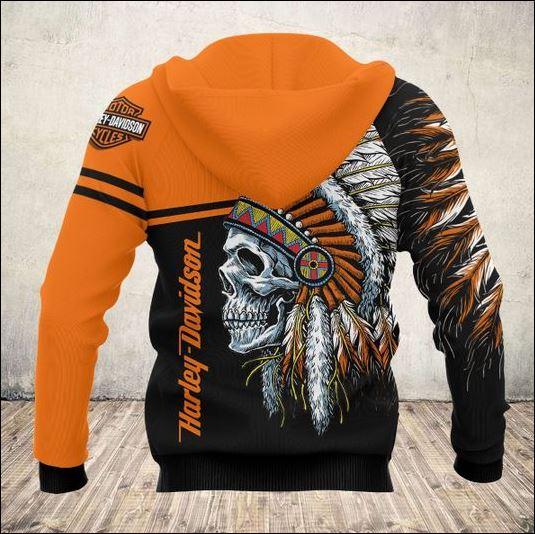 Skull nation Harley Davidson 3D hoodie back