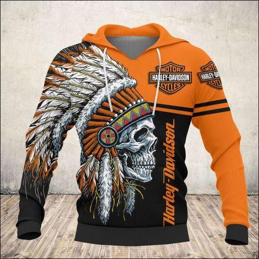 Skull nation Harley Davidson 3D hoodie