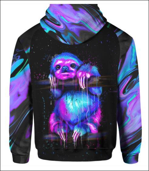 Sloth violet 3D hoodie back