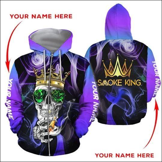Smoke King skull 3D zip hoodie