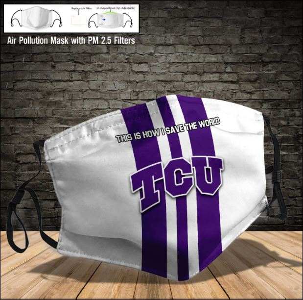 TCU Horned Frogs face mask