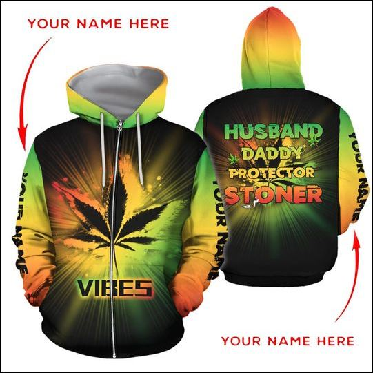 Vibes husband daddy protector stoner 3D zip hoodie