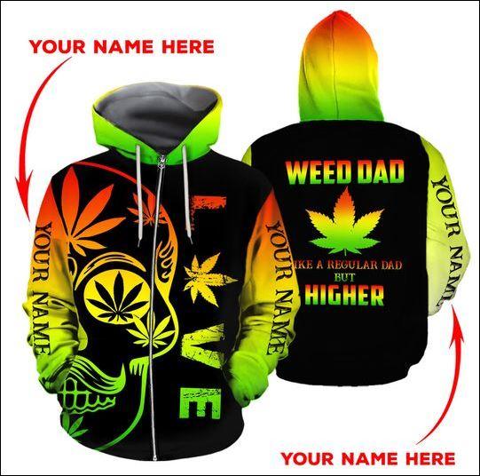 Weed dad like a regular dad but higher 3D zip hoodie