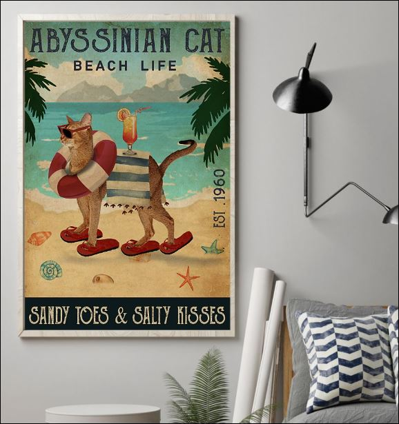 Abyssinian cat beach life sandy toes and salty kisses poster 1
