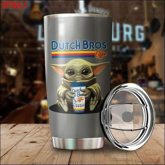 Baby Yoda hug Dutch Bros coffee tumbler