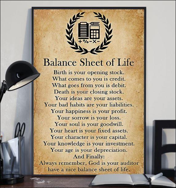 Balance sheet of life poster 2