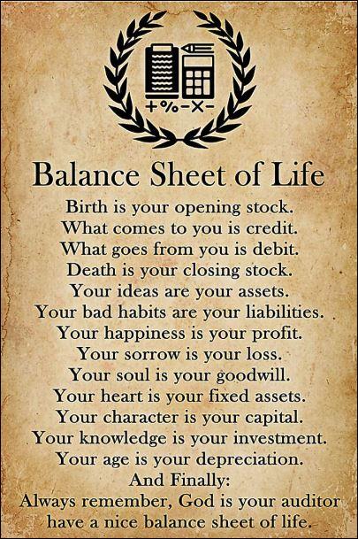 Balance sheet of life poster