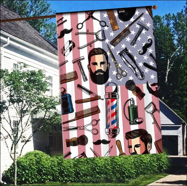 Barber and American flag