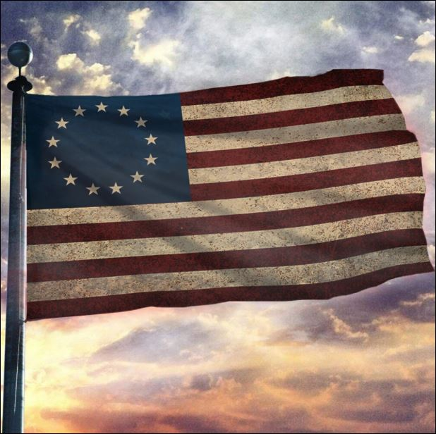 Betsy Ross and American flag