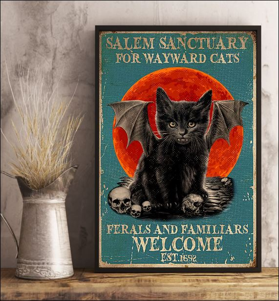 Black cat salem sanctuary for wayward cats ferals and familiars welcome poster 3