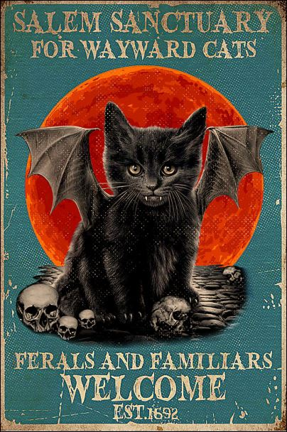 Black cat salem sanctuary for wayward cats ferals and familiars welcome poster