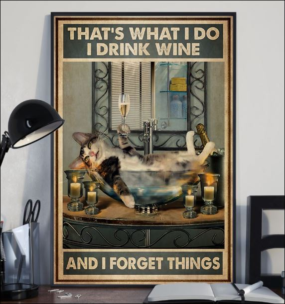 Cat that's what i do i drink wine and i fotget things poster 3