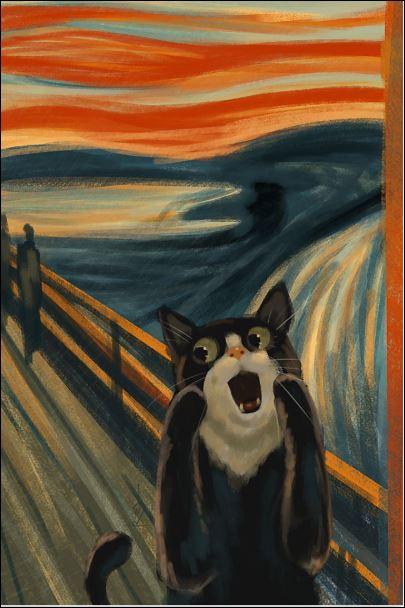 Cat the scream art poster