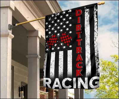 Dirt track racing American flag