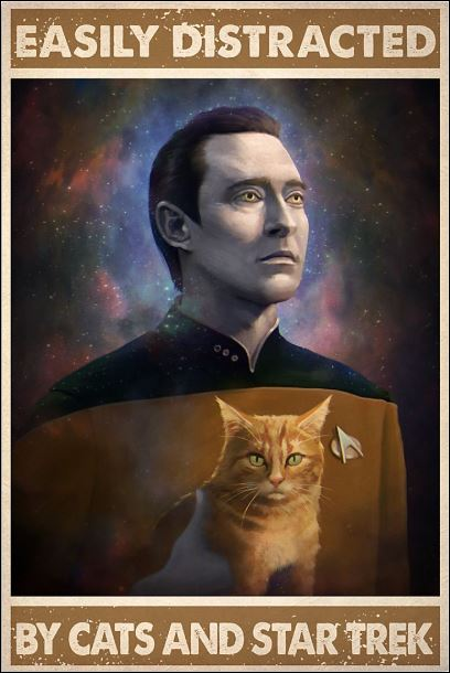 Easily distracted by cats and Star Trek poster