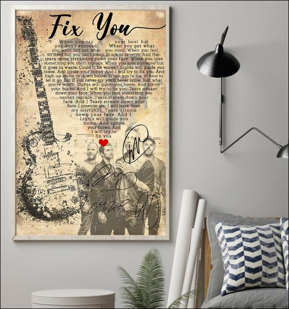 Fix you lyric Cold Play signatures poster 1