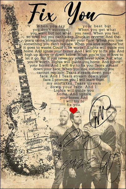 Fix you lyric Cold Play signatures poster