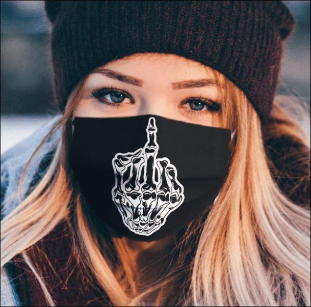 Fuck skull middle finger face mask